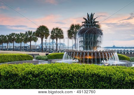 Charleston South Carolina ananas fontein in historische Waterfront Park