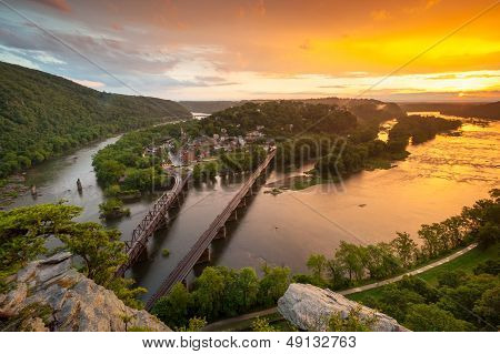 Historic Harpers Ferry From Maryland Heights Overlook