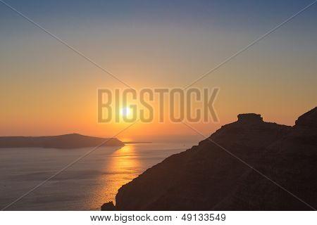 Beautiful Sunset At The Beach Of Santorini In Greece