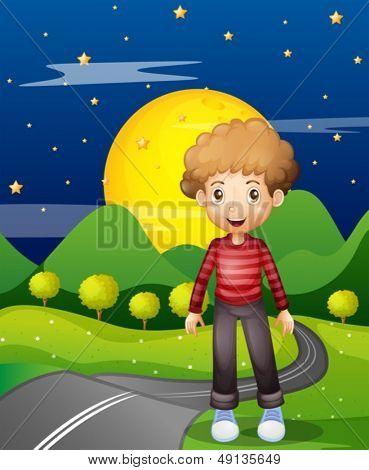Illustration of a man in the street wearing a stripe sweatshirt