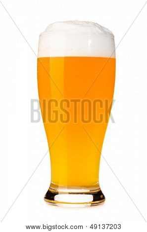 glass of fresh unfiltered beer cut out from white