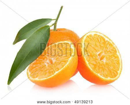ripe mandarins isolated on white background