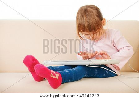 young girl using a keybord. computer generation