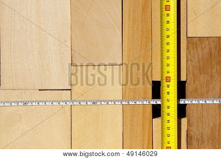 Wood Blocks And Tape Measure