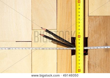 Wood Blocks Tape Measure And Pencils