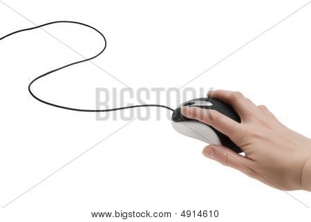 Female Hand On A Computer Mouse