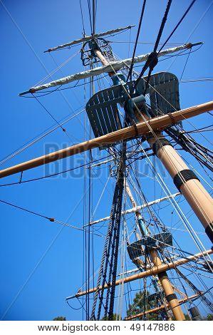 Sailing Ship Rigging And Blue Sky