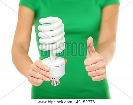 energy saver light bulb woman showing big fluorescent. Black Bedroom Furniture Sets. Home Design Ideas