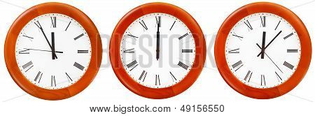 Set Of Wall Clock With Twelve O Clock