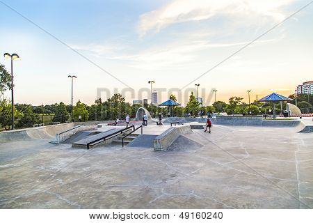 View On Downtown Houston In Late Afternoon From The Skatepark