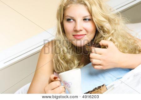 Dreamy Girl Drinking Tea