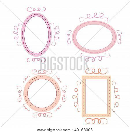 Empty retro vector frames set. Cute pink, orange and violet whimsy hand drawn design elements.