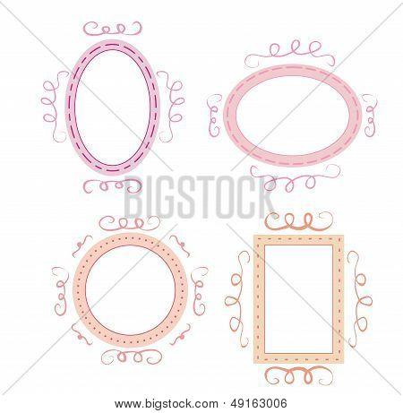 Leere retro Vektorrahmen festgelegt. Cute pink, orange und violett Laune handgezeichnete Design-Elemente.