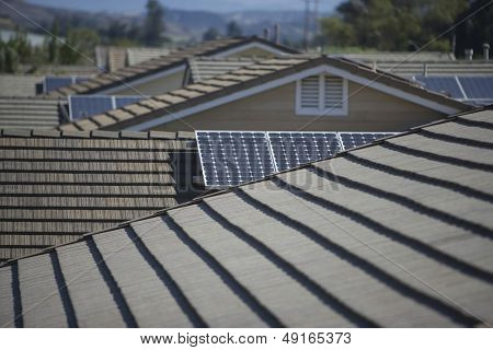View of solar panels on roofs