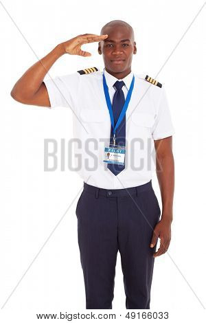 handsome airline african pilot saluting over white background