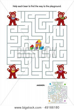 Maze game for kids - teddy bears