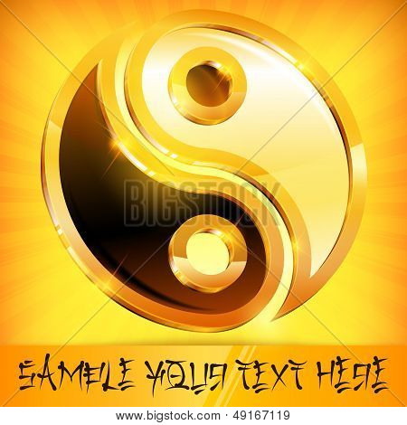 Yin Yang Gold Symbol On Yellow & Text