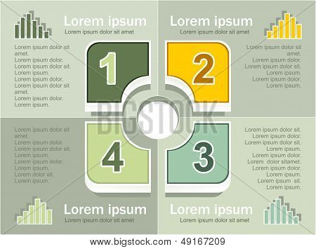 Infographics elements on grey olive background