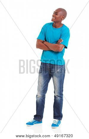 young african american man with arms folded looking away