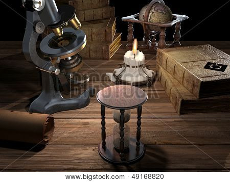 Microscope and old books on a wooden table.