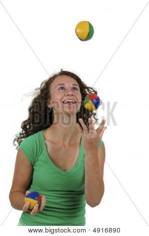 Isolated Teenage Girl Juggling