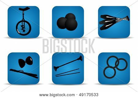 Juggling icons blue