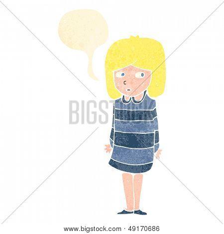 retro cartoon worried girl