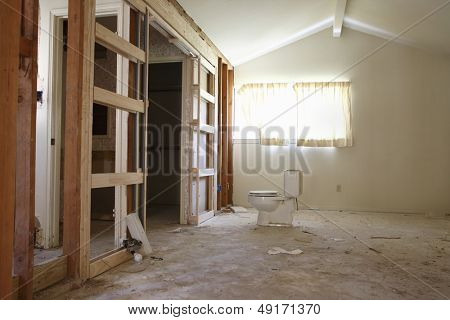View of water closet in house under renovation