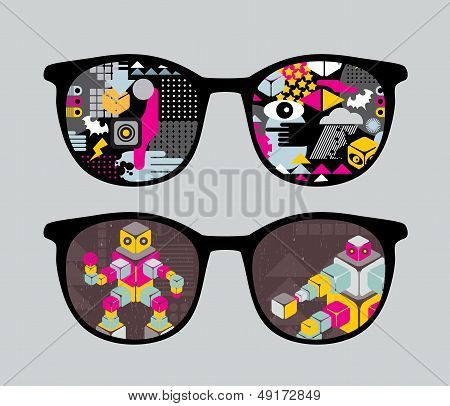 Retro sunglasses with robots reflection in it.