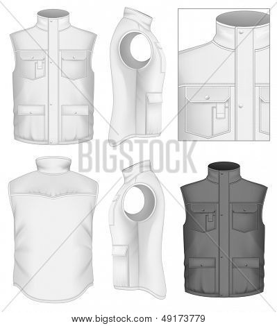 Photo-realistic vector illustration. Men's body warmer design templates (front, back and side views). Illustration contains gradient mesh.