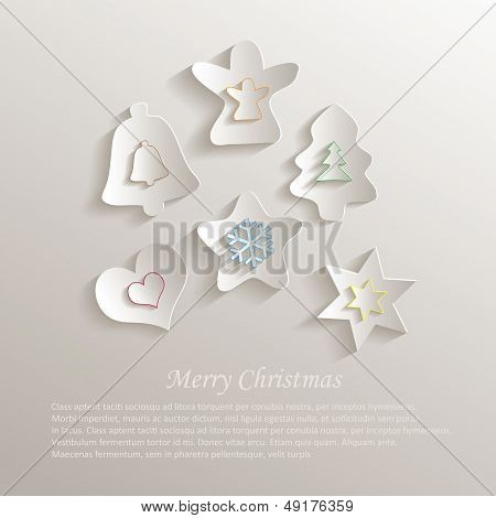 vector christmas color paper 3d
