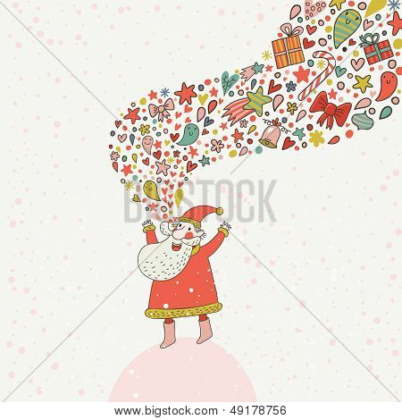 Cartoon funny Santa Claus on concept vector card. Stylish holiday background in bright colors. Childish Santa with fantasy burst made of hearts, stars, gifts and other holiday elements