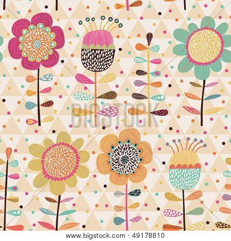 Bright stylish cartoon floral card in vector. Seamless pattern can be used for wallpapers, pattern fills, web page backgrounds,surface textures. Gorgeous seamless floral background