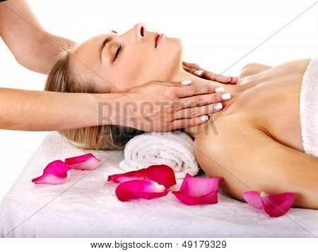 Woman getting facial  massage in beauty spa. Isolated.