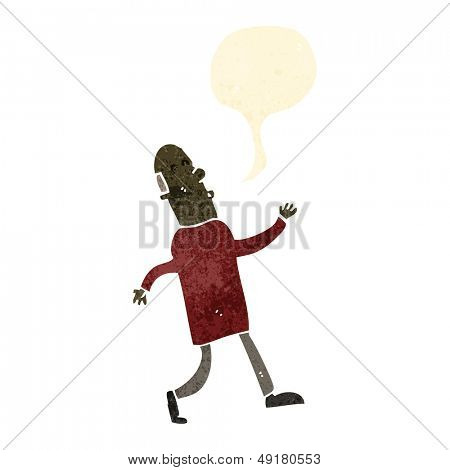 retro cartoon strutting old man