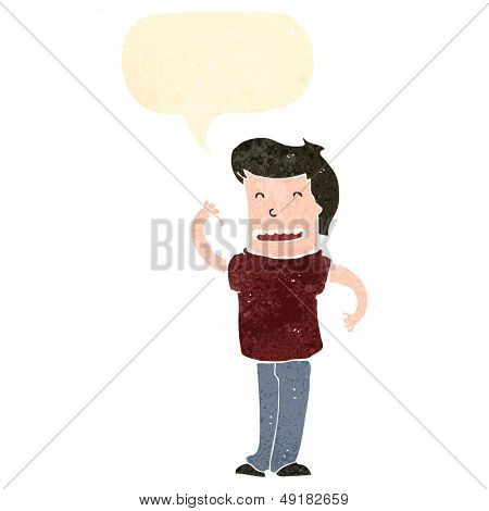 retro cartoon man with speech bubble pointing at himself