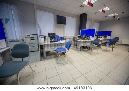 MOSCOW -  JAN 24: Office of Skylink company with tables, chairs and office equipment on January 24. 2013 in Moscow, Russia.