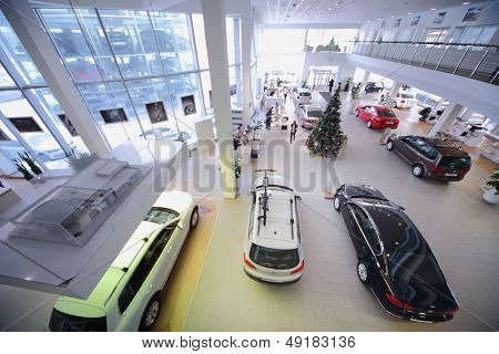 MOSCOW - JAN 11: Office premises Volkswagen dealer Center Varshavka on January 11, 2013, Moscow, Russia. Volkswagen dealership on Varshavka offers a full range of cars Volkswagen