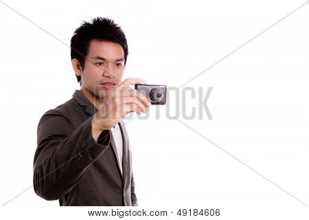 Young man with camera Isolated on white background