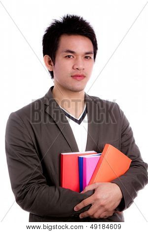 Portrait of a man holding books Isolated on white background