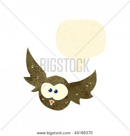 retro cartoon flying owl with speech bubble