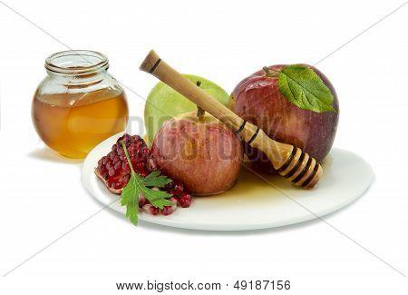 Honey, apples and pomegranate