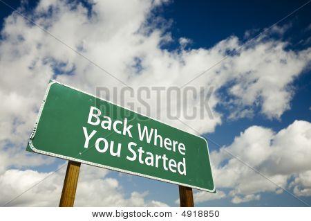 Volta onde você começou o sinal de estrada