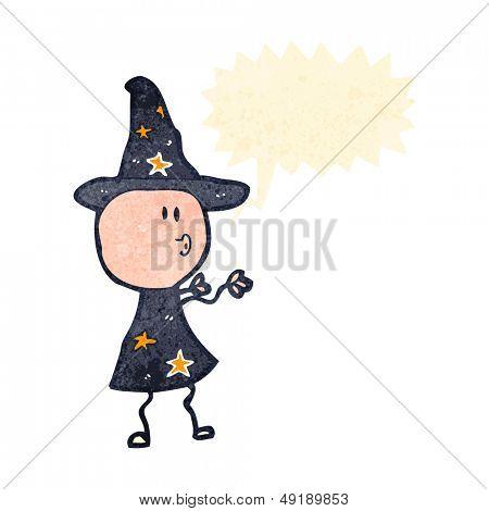 retro cartoon wizard casting spell