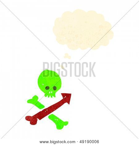 retro cartoon skull and crossbones direction symbol