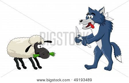 Funny cartoon hungry wolf and sheep