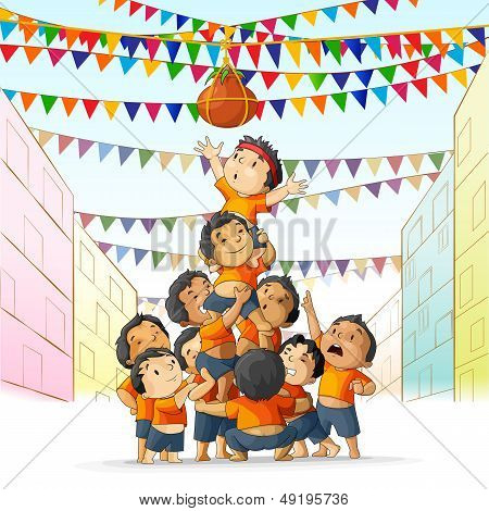 Boys at playing Dahi Handi in Janmashtami