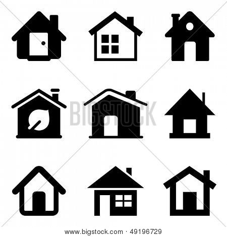 Black home icons isolated on white/ House symbols