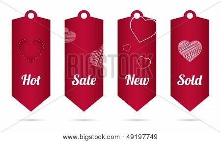 Price Tag With Valentine's Day Design