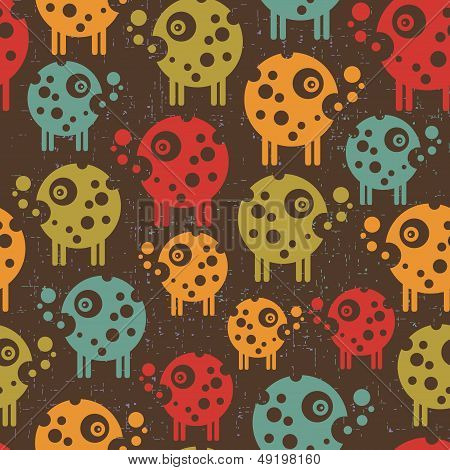 Robots seamless background in retro style.